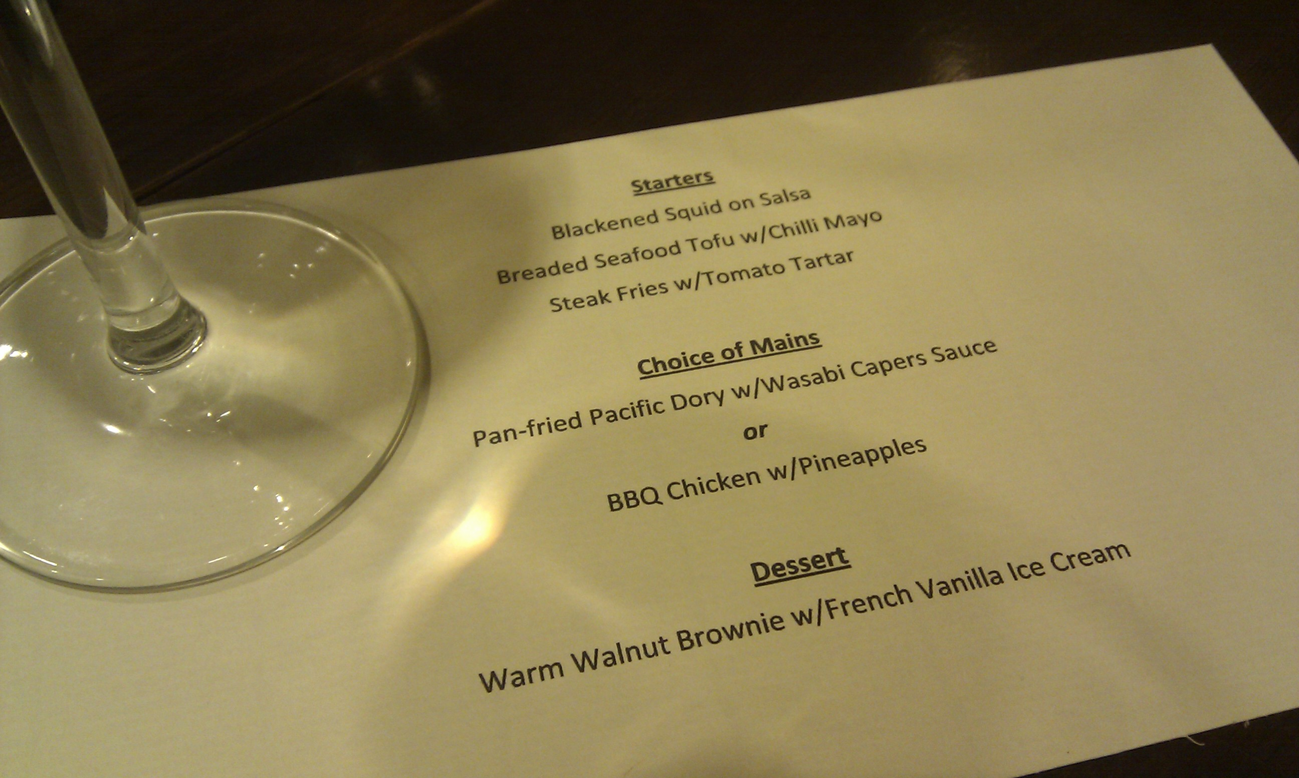 Classics wine dinner - menu